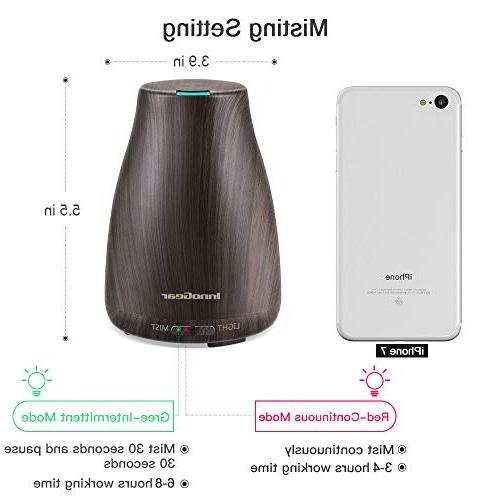 InnoGear Wood Grain Aromatherapy Ultrasonic Diffusers Humidifier 7 LED Lights and Auto Shut-off for Office