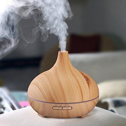 VicTsing 300ml Cool Humidifier Ultrasonic Essential Home Study Yoga Wood Grain