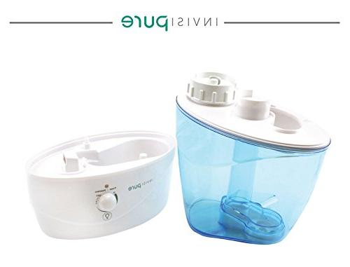 InvisiPure Humidifier Small Compact Bedroom, Office, Kid Room, Table Top, - Mist, Vaporizer, BPA Free, Night Light