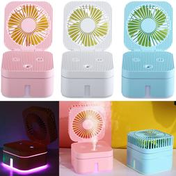 Mini Fan USB LED Ultrasonic Humidifier Aromatherapy Purifier