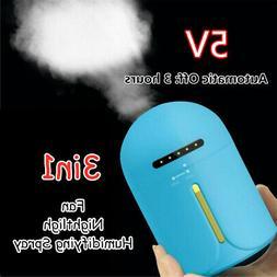 Mini Humidifier+Fan+Nightlight 3in1 Car Household Air Purifi
