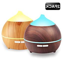 2 PACK Oil Diffuser, 250ml Wood Grain diffuser With 8 Colorf