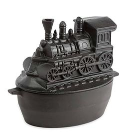 Train Wood Stove Steamer, Solid Cast Iron, Matte Black Ename