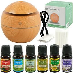 Ultrasonic Diffuser Aromatherapy Humidifier, Light Wood + 6P