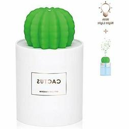 USB Cool Humidifiers Mist With Night Light, Mini Size Cactus