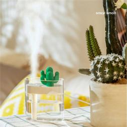 USB Cool Mist Cactus Humidifier with Night Light Timed auto
