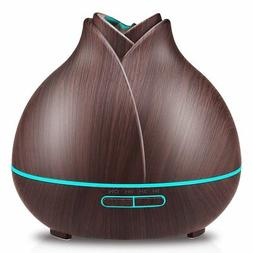 URPOWER 400ml Wood Grain Essential Oil Diffuser, Running 10+